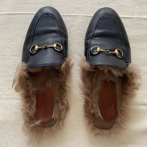Gucci Princetown Leather Slippers With Fur